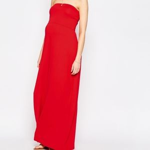 ASOS Red Strapless Long Maxi Dress sz 14